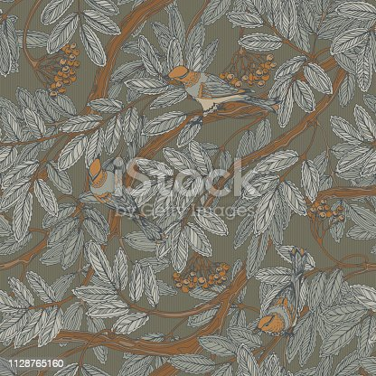 Gray seamless vintage floral pattern with rowan foliage, berries and thrush birds