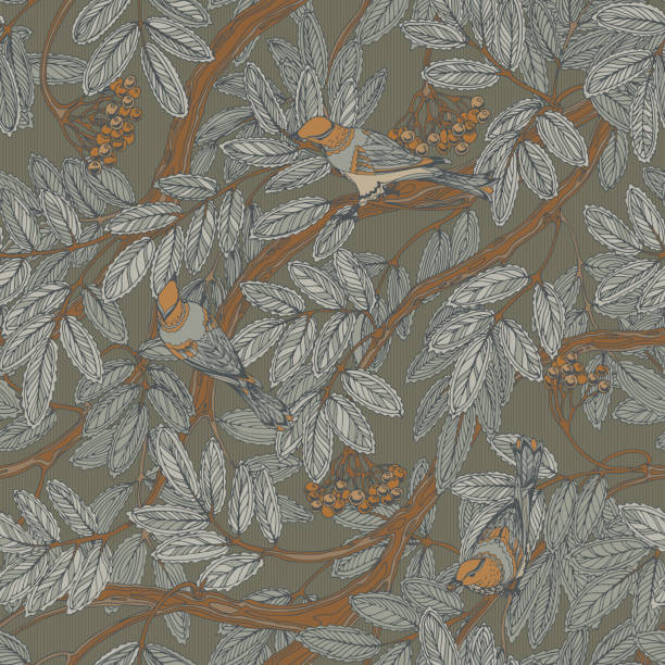 Seamless gray pattern with rowan branches and thrush birds Gray seamless vintage floral pattern with rowan foliage, berries and thrush birds bird backgrounds stock illustrations