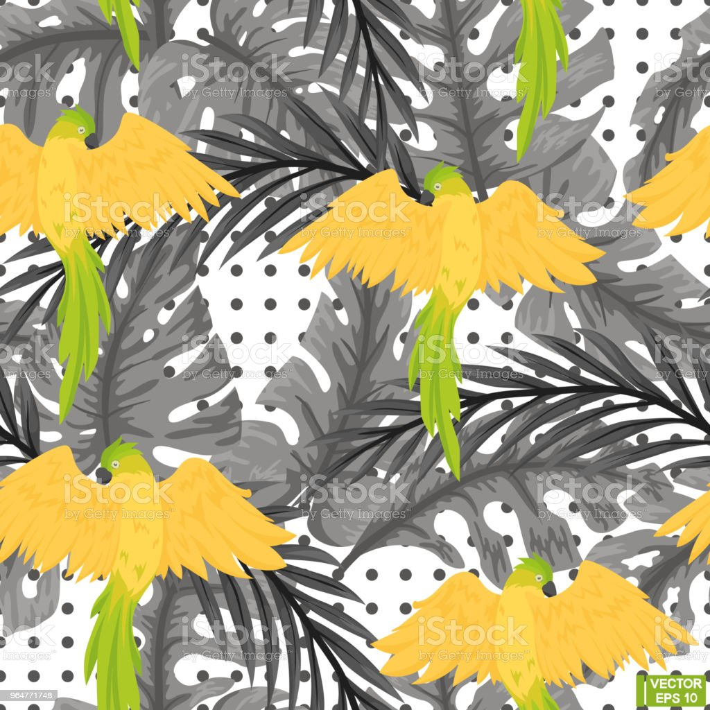 Seamless gray pattern, yellow parrots. royalty-free seamless gray pattern yellow parrots stock illustration - download image now