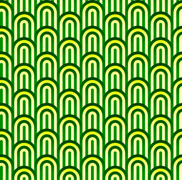 seamless green background with geometric figures and soft colors. - stripped pattern stock illustrations, clip art, cartoons, & icons
