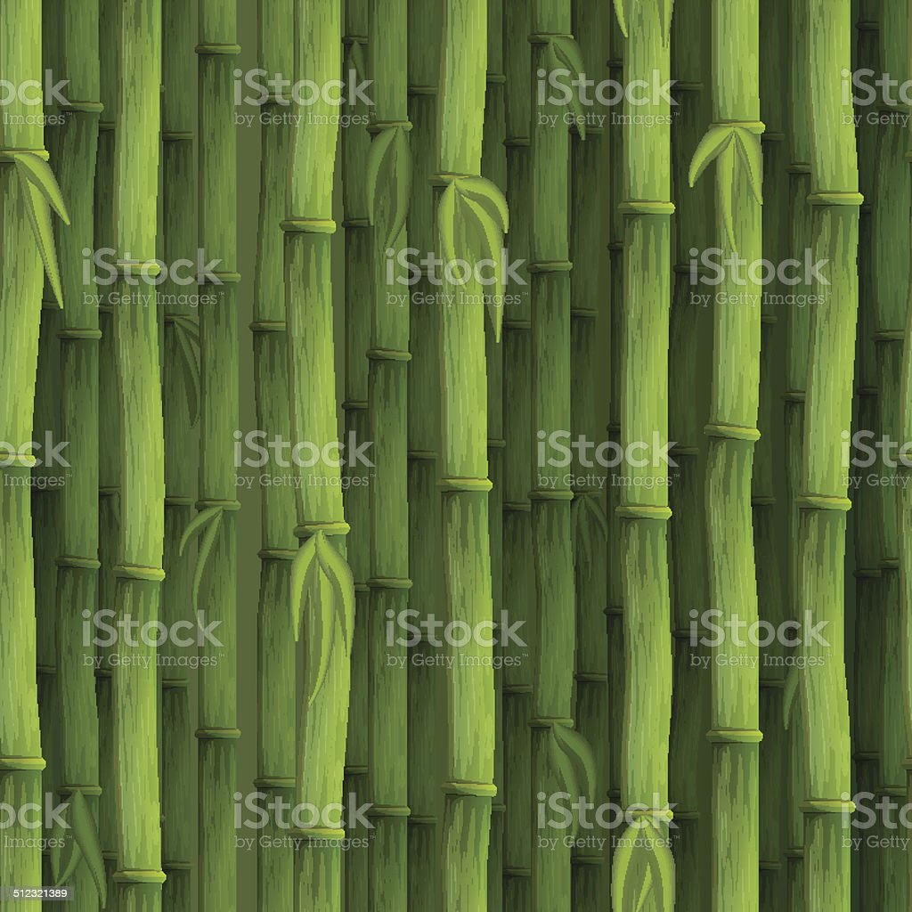 Seamless green bamboo background vector art illustration