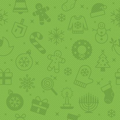 Seamless Green Christmas Season Background