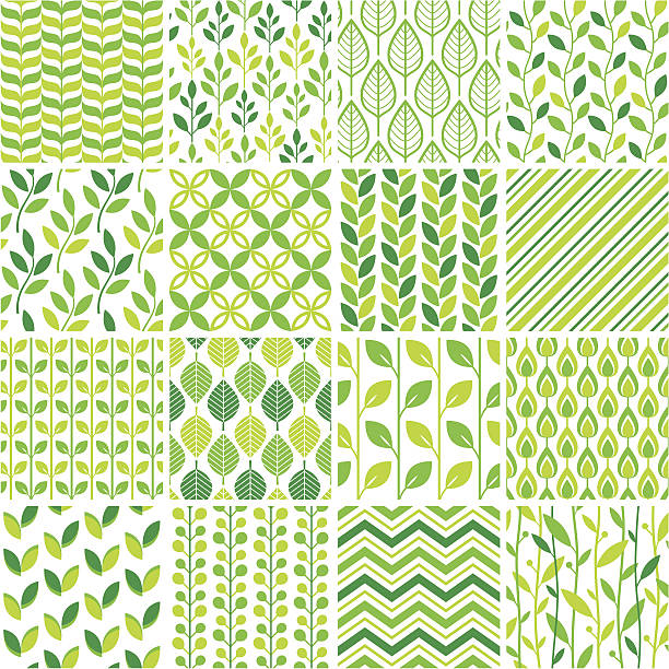 seamless green graphic pattern set - vintage nature stock illustrations, clip art, cartoons, & icons