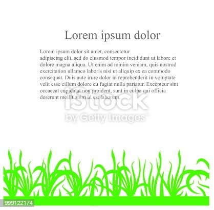 Seamless green grass pattern from below, black Lorem Ipsum on white background, design element stock vector illustration for web, for print
