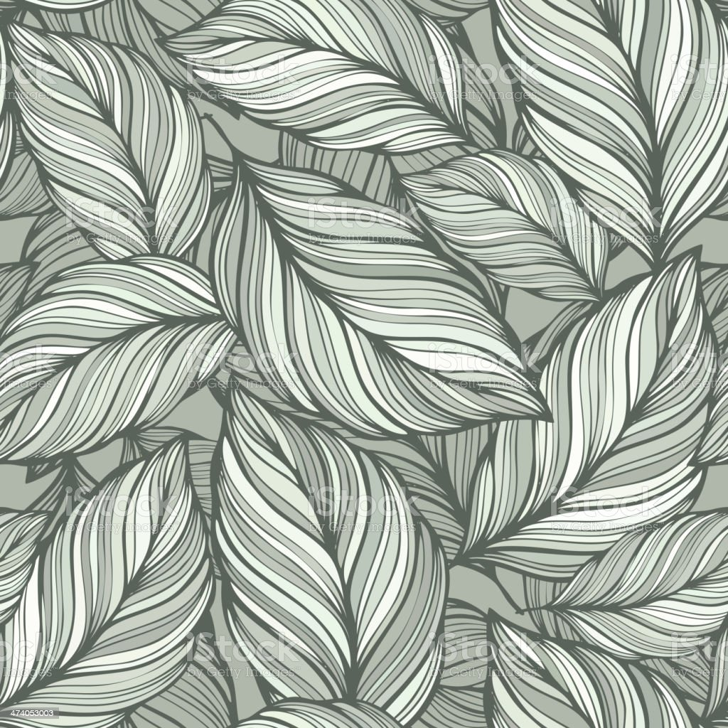 Seamless  green leaves background vector art illustration