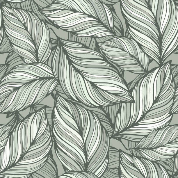 seamless  green leaves background - vintage nature stock illustrations, clip art, cartoons, & icons
