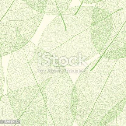 istock Seamless green leaves pattern 153642132