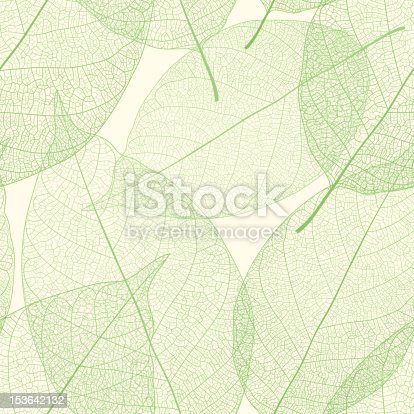 Vector seamless pattern from green leaves