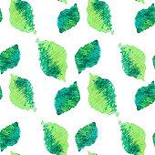 Seamless green leaves pattern