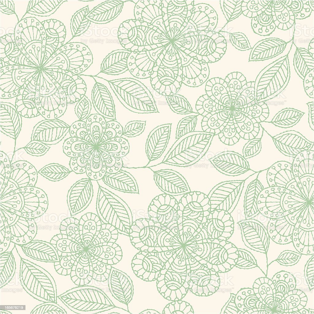 Seamless green lineart floral pattern royalty-free stock vector art