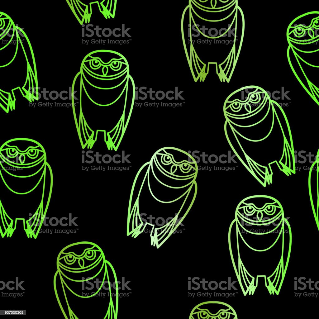 Seamless Green Owls over Black vector art illustration