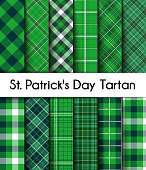 12 Seamless Green St. Patrick's Day Plaid.