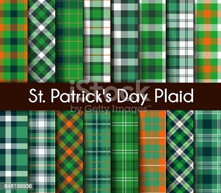 istock 16 Seamless Green St. Patrick's Day Plaid. 648199936