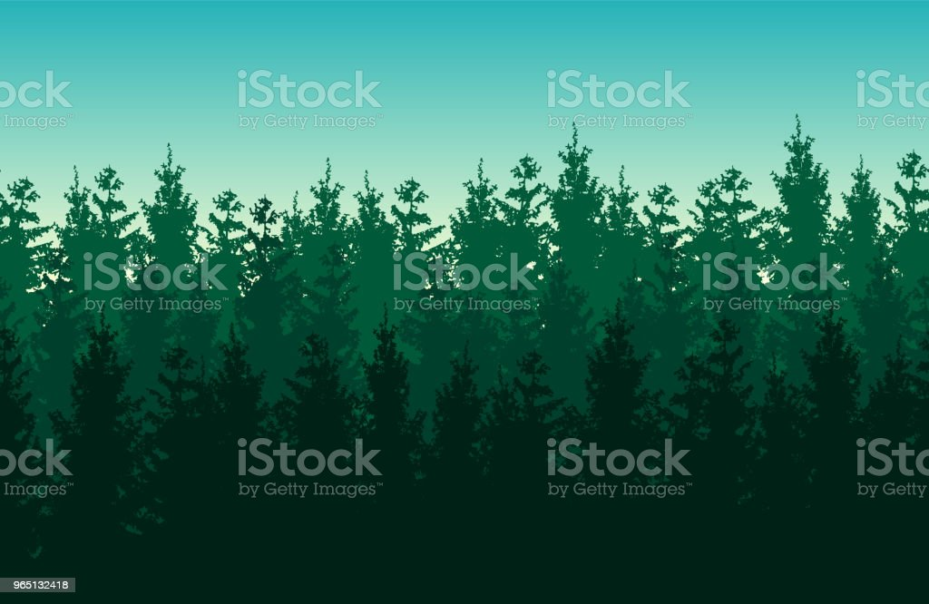 Seamless green vector forest landscape with coniferous trees. seamless green vector forest landscape with coniferous trees - stockowe grafiki wektorowe i więcej obrazów bez ludzi royalty-free