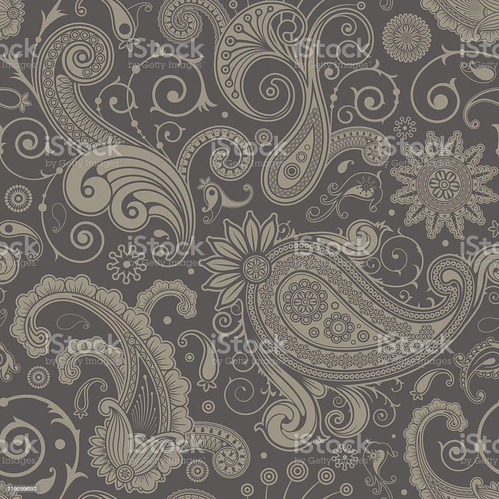 Seamless Grey Paisley Pattern Background Stock ...