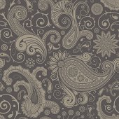 Seamless ornament with flowers and paisley
