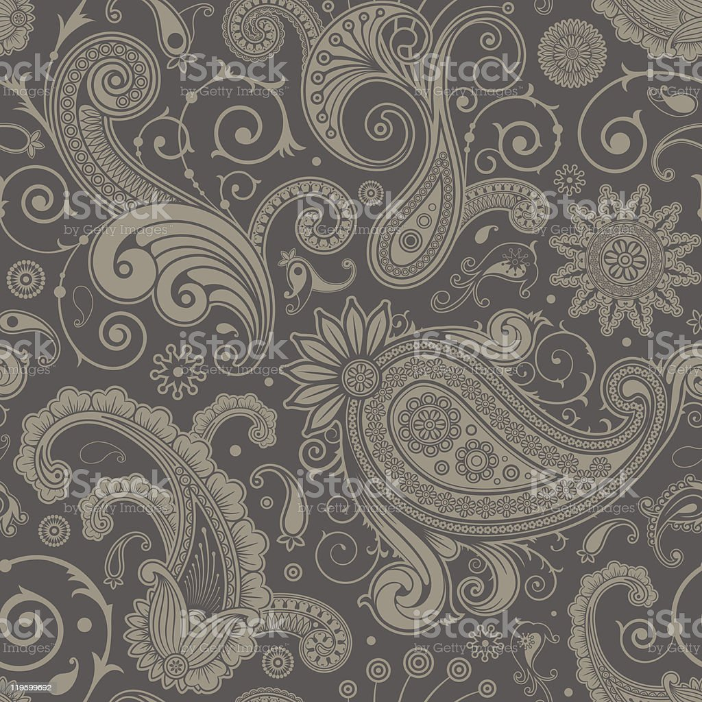 Seamless grey paisley pattern background vector art illustration