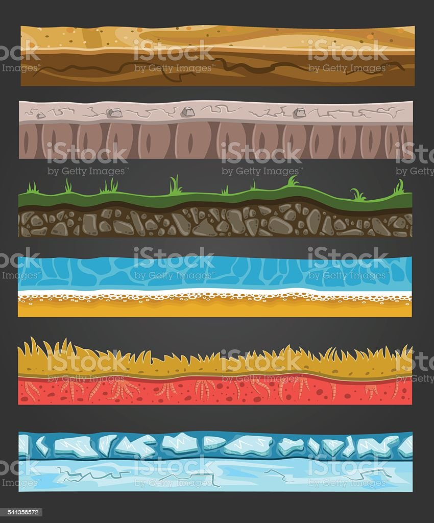 Seamless ground elements set, vector landscape illustration 2