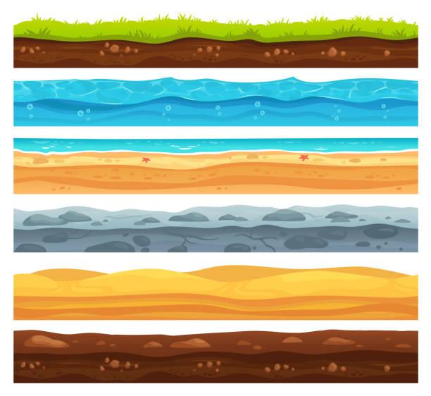 無縫地表。綠草土地景觀, 沙質沙漠和海濱海水。地面層向量卡通集 - 陸地 幅插畫檔、美工圖案、卡通及圖標