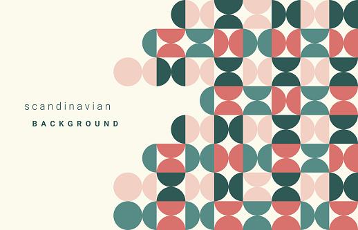 Seamless half circle pattern, Scandinavian modern style, Geometric Vector