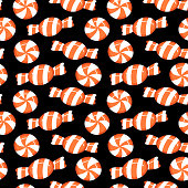 Seamless halloween candy illustration pattern, black background