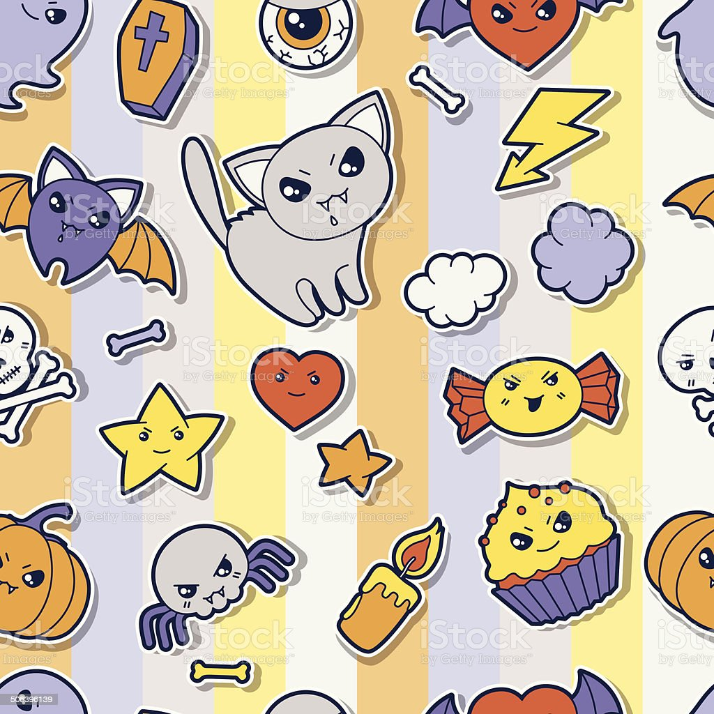 Seamless halloween kawaii pattern with sticker cute doodles. royalty-free seamless halloween kawaii pattern with sticker cute doodles stock vector art & more images of animal markings