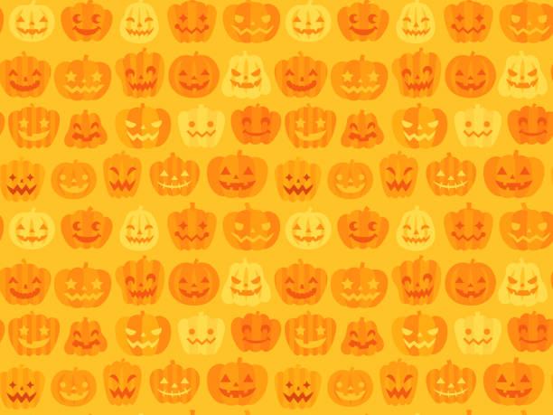 illustrazioni stock, clip art, cartoni animati e icone di tendenza di sfondo del modello halloween senza cuciture (jack o' lantern) - halloween