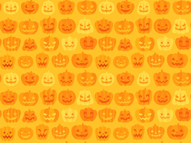 dikişsiz halloween desen arka plan (jack o' lantern) - halloween background stock illustrations