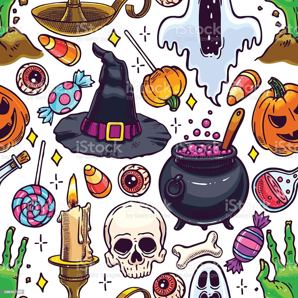 seamless Halloween pattern royalty-free seamless halloween pattern stock vector art & more images of autumn
