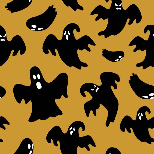 Seamless halloween pattern with ghost silhouette Seamless halloween pattern with ghost silhouette autumn symbols stock illustrations