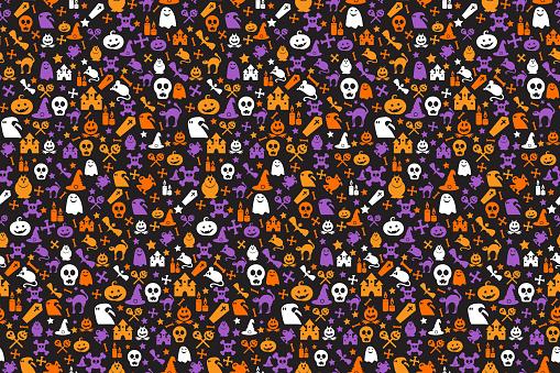 Seamless halloween pattern with skull, bat, ghosts