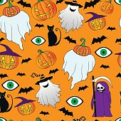 Seamless halloween pattern.Funny,crazy ghost,death with a scythe,pumpkin,black cat,eye.