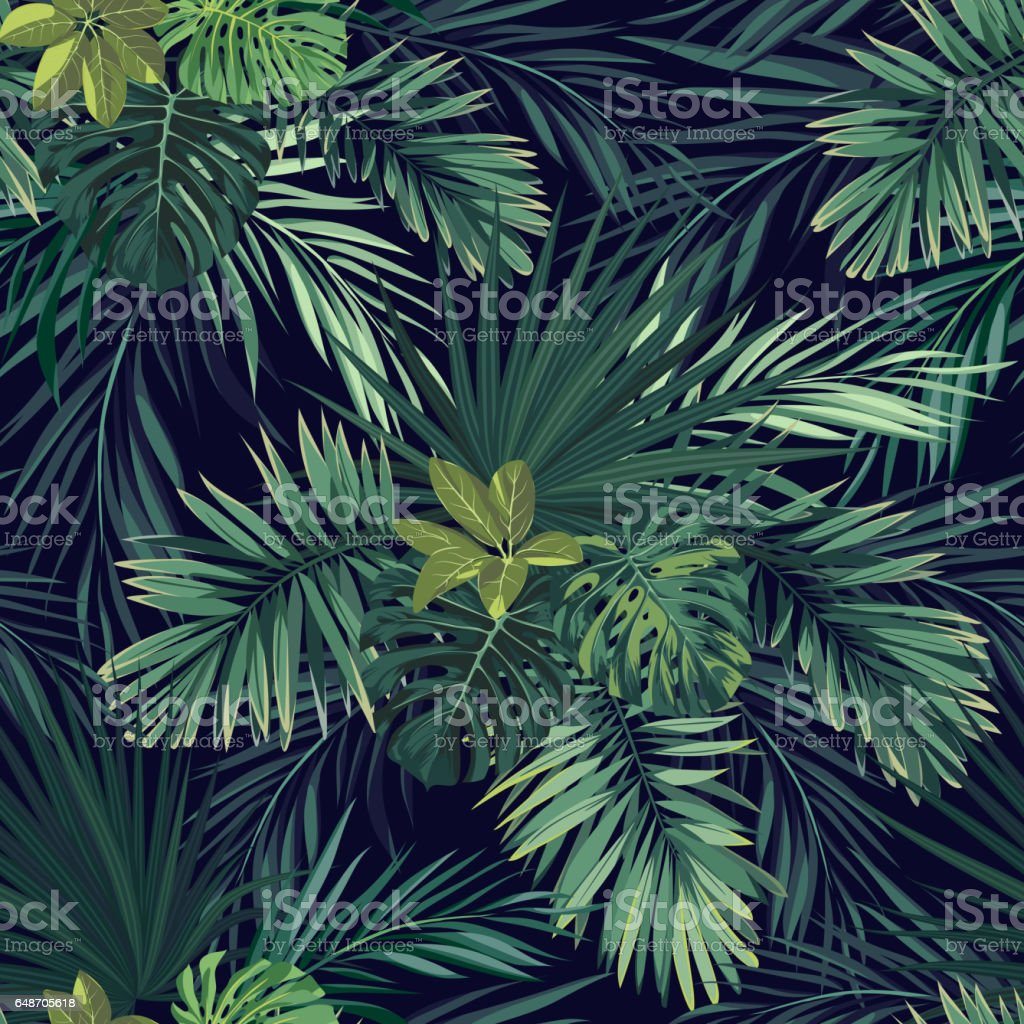 Seamless hand drawn botanical exotic vector pattern with green palm leaves on dark background royalty-free stock vector art