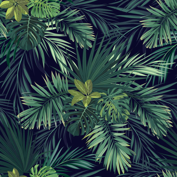 Seamless hand drawn botanical exotic vector pattern with green palm leaves on dark background vector art illustration
