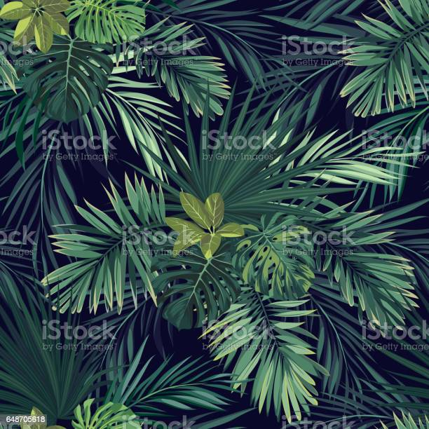 Seamless hand drawn botanical exotic pattern with green palm leaves on dark background. Vector illustration.