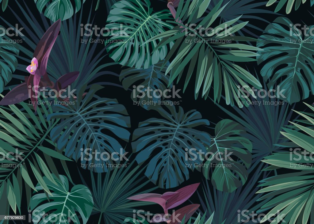 Seamless hand drawn botanical exotic vector pattern with green palm leaves on dark background royalty-free seamless hand drawn botanical exotic vector pattern with green palm leaves on dark background stock illustration - download image now