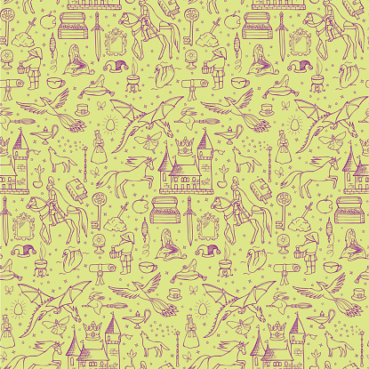 Seamless hand drawn doodle pattern with fairy tale elements