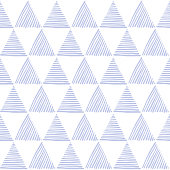 Seamless hand drawn geometric pattern with blue striped triangles