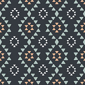 Seamless hand drawn geometric tribal pattern with rhombuses and triangles. Vector navajo design