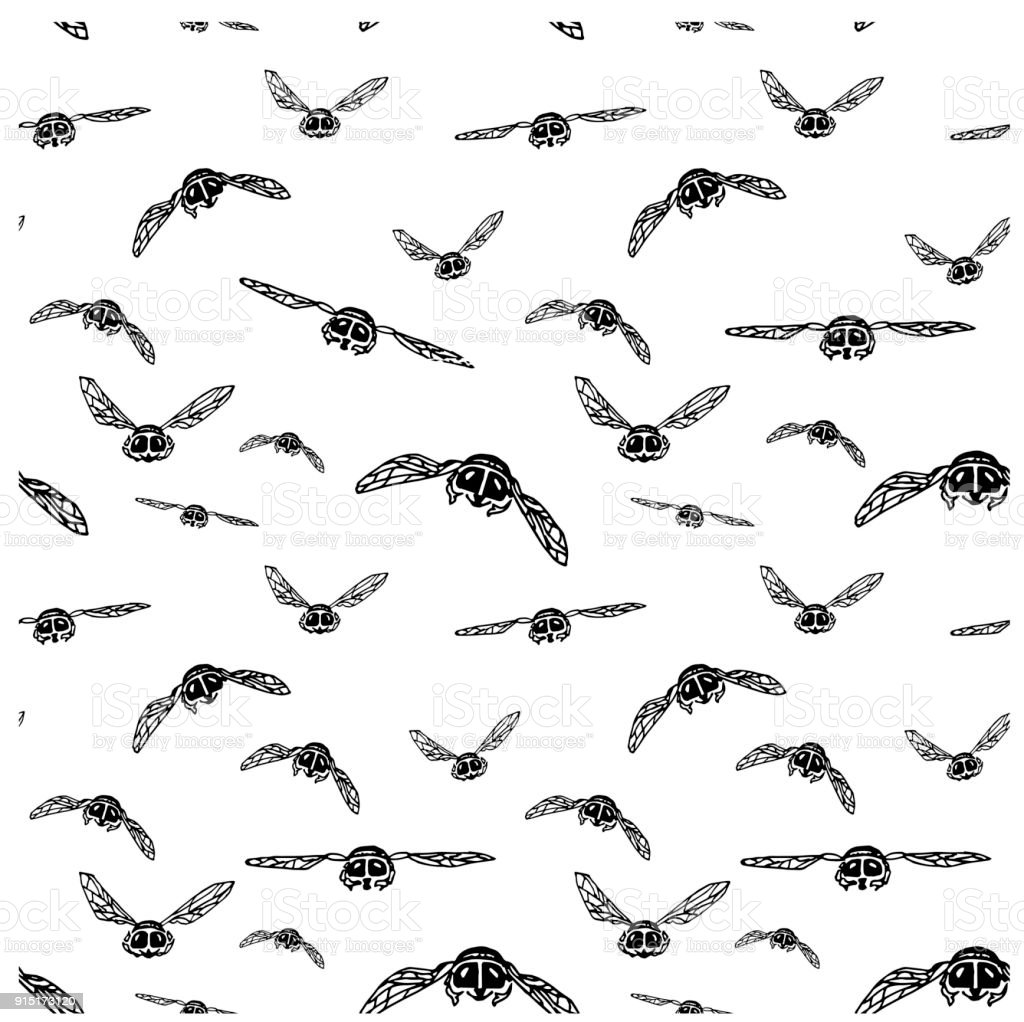 Seamless hand drawn ink monochrome flies flying in original perspective, funny sketch vector art illustration
