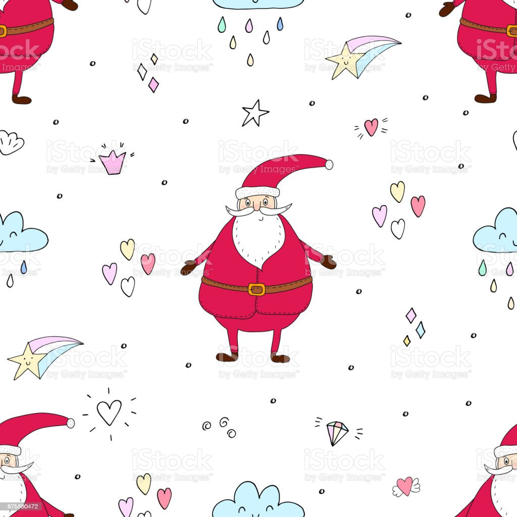 image regarding Santa Claus Patterns Printable referred to as Seamless Hand Drawn Practice Of Xmas Printable Templates