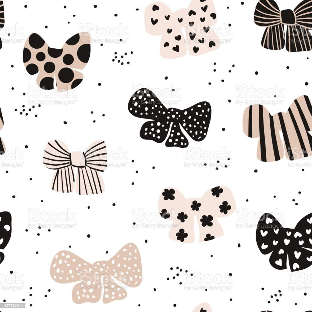 Seamless hand drawn pattern with bows. Fashion trendy texture.Great for fabric and textile. Vector Illustration vector art illustration