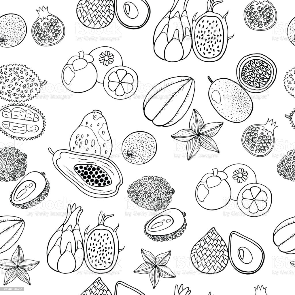 Seamless Hand Drawn Pattern With Tropical Exotic Fruits Vector Coloring Page Royalty Free Stock