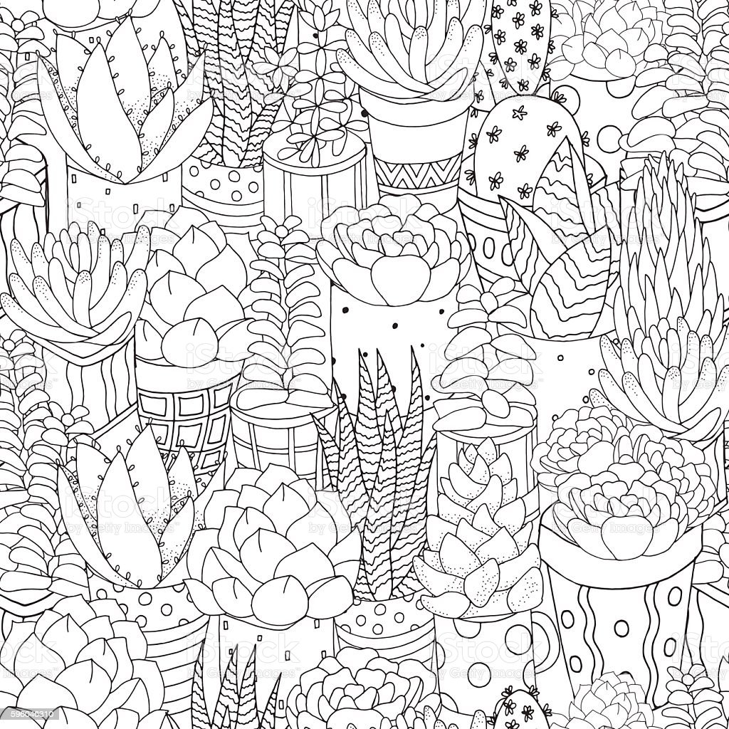 Seamless Hand drawn set of succulents, cactuses and pots. vector art illustration