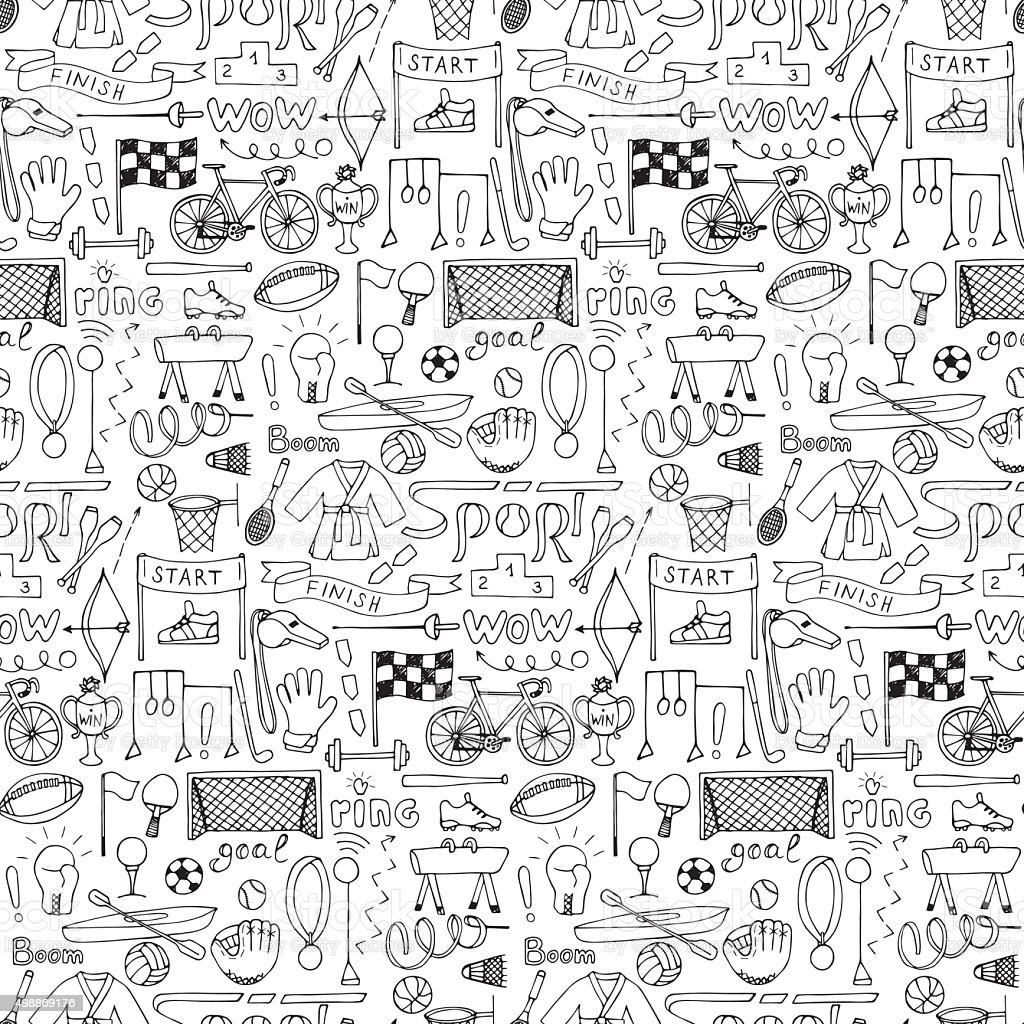 Seamless hand drawn Sport equipment pattern vector art illustration