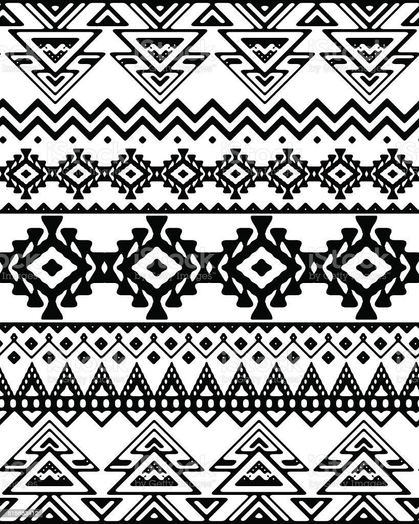Dibujado a mano, sin rayas patrón continuo ornamento de étnicas y tribales. - ilustración de arte vectorial