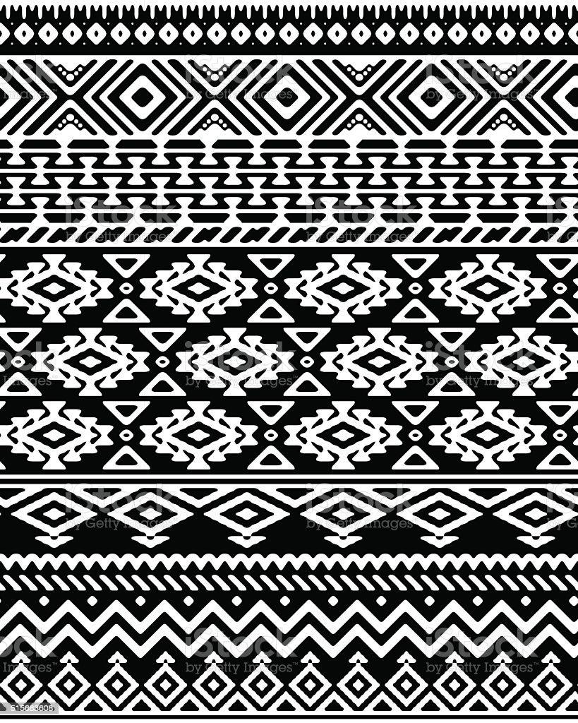 Nahtlose handgezeichnet Streifen Muster mit ethnische und stammesbezogene Schmuckteil. – Vektorgrafik