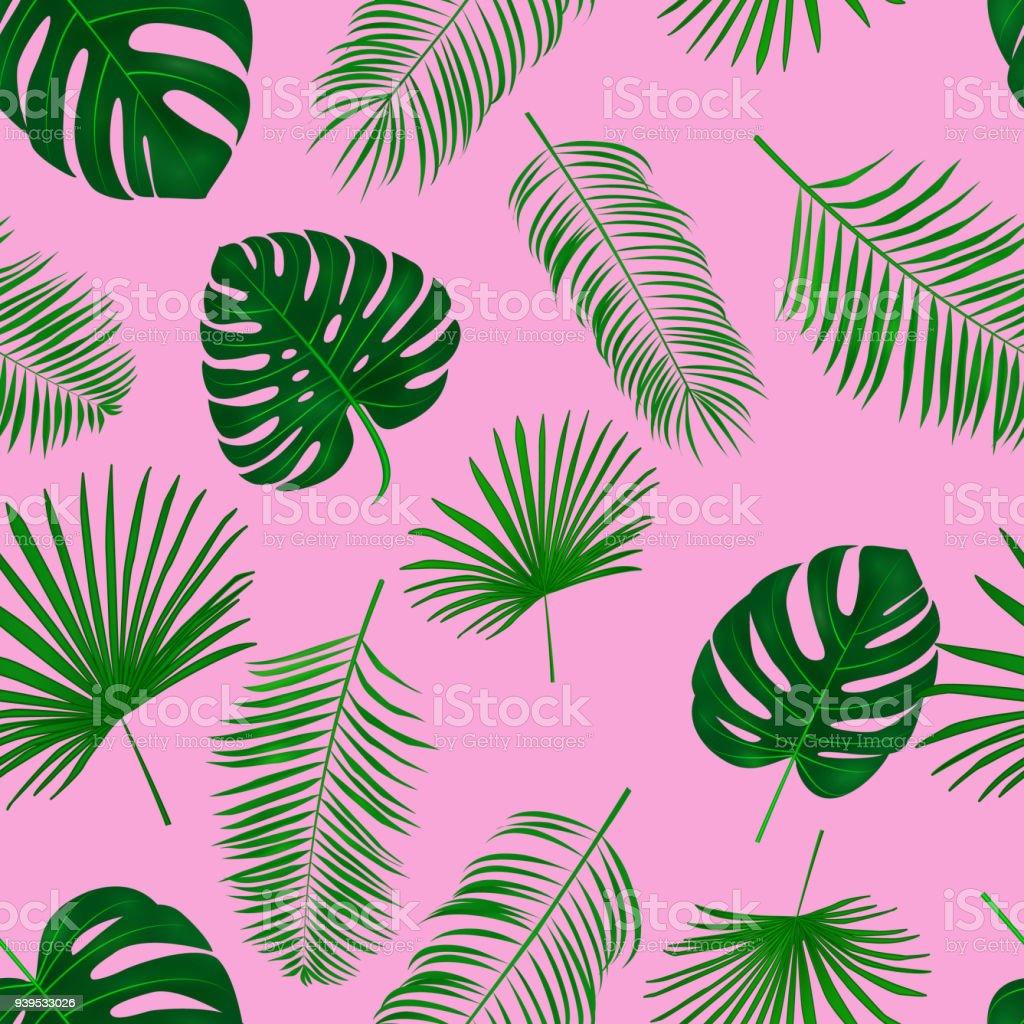 Ilustración de Hojas De Mano Transparente Dibujado Tropical Vector ...