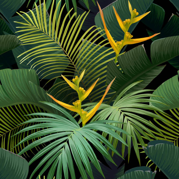 Seamless hand drawn tropical vector pattern with bird of paradise flowers and exotic palm leaves on dark background. Vector background Seamless hand drawn tropical vector pattern with bird of paradise flowers and exotic palm leaves on dark background. Vector background. idyllic stock illustrations