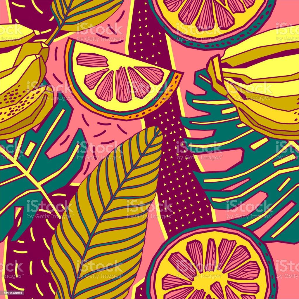 Folhas de padrão de desenho vetorial tropical mão sem costura com flores brilhantes e palmeiras exóticas. - Ilustração de Arte Linear royalty-free